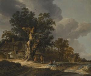 Roelof van Vries - Landschap met herberg De Olifant tussen bomen